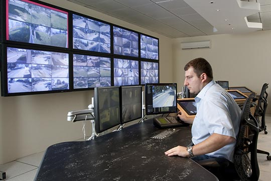 Operator in CCTV control room